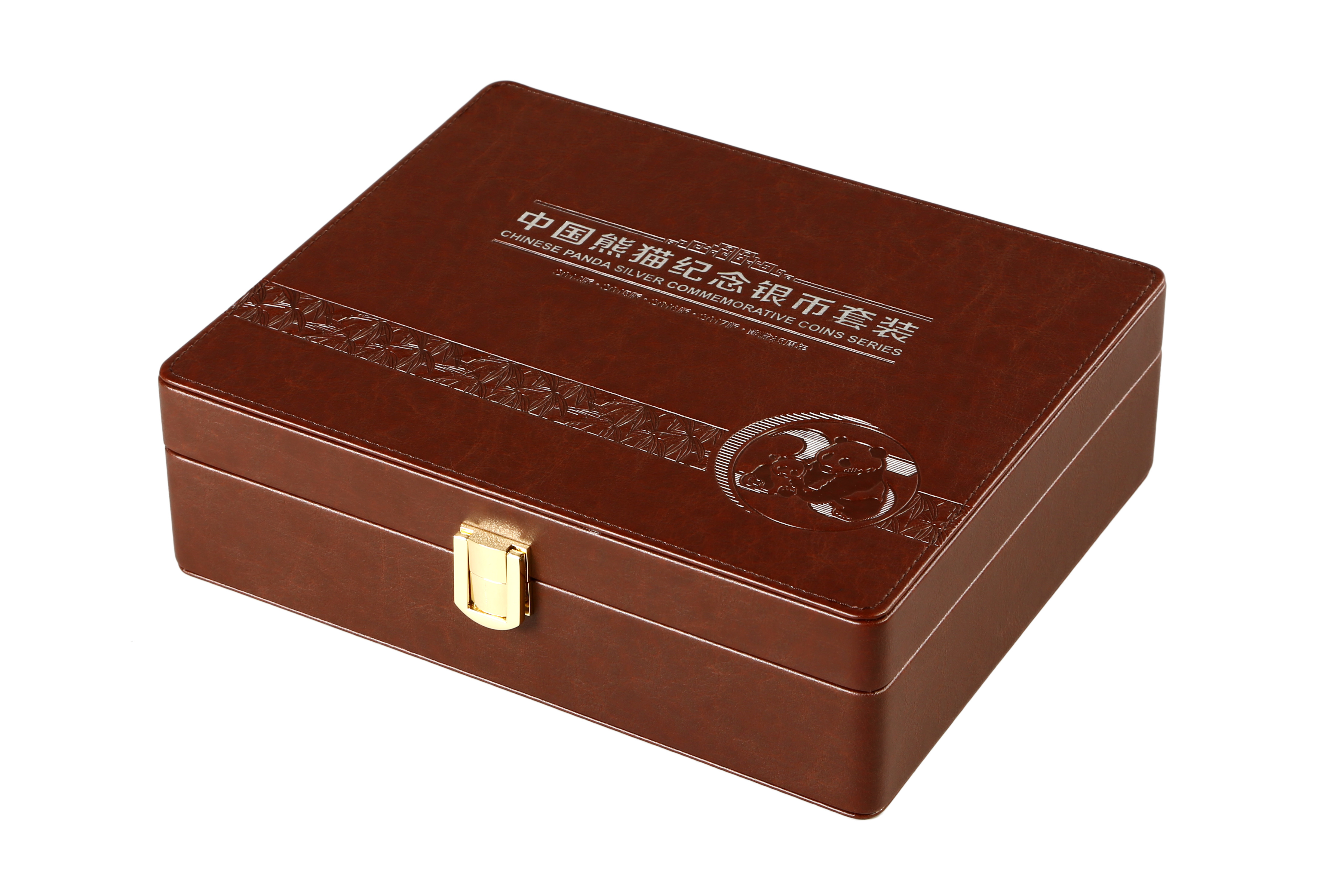 Luxury Brown PU Leather Wrapped Coin Collection Box and Commemorative Gift Packaging