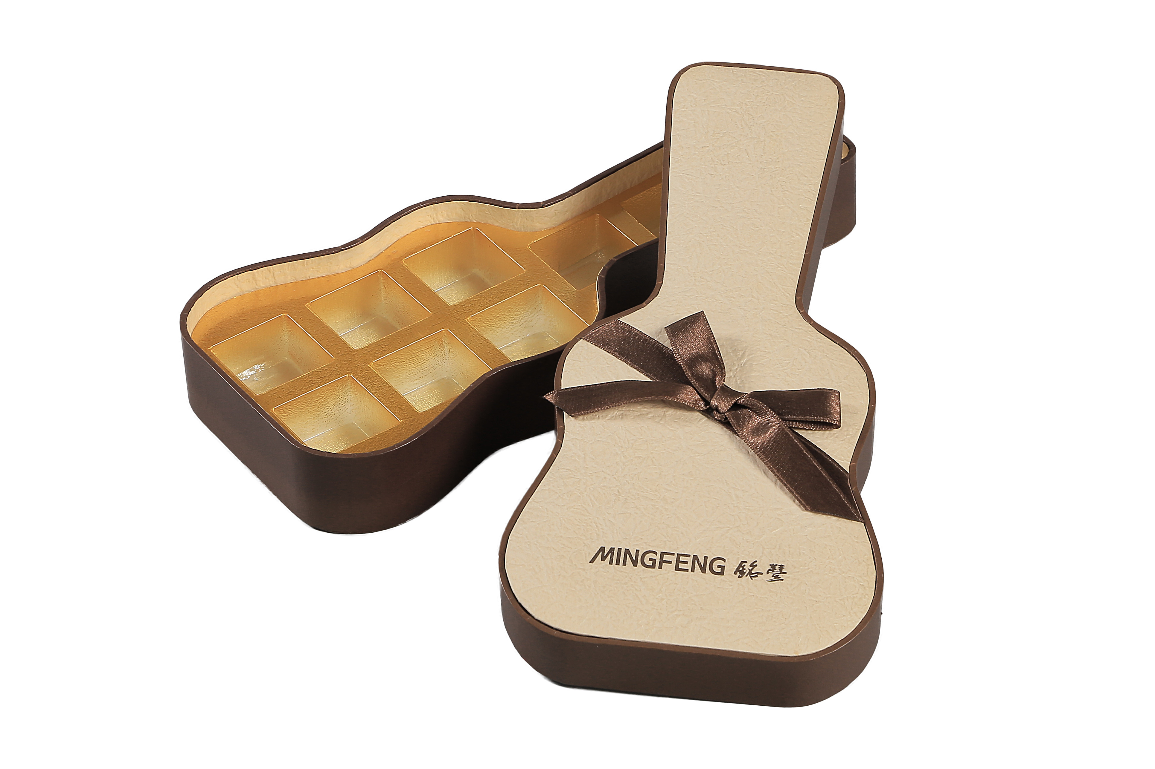 Ribbon Decorated Guitar Shape Paper Chocolate Gift Box and Food Packaging