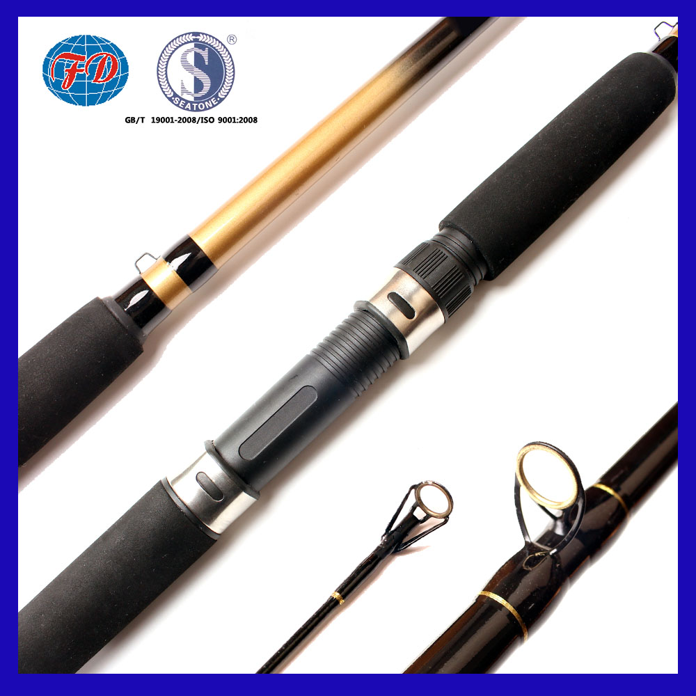 good quality strengthen fiber glass 2 section fishing rod with golden guide ring