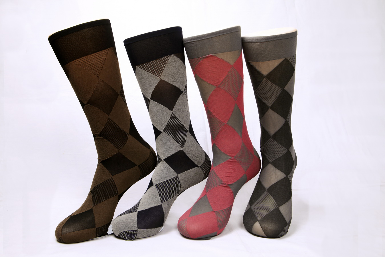 Women's 400N argyle pattern sheer trouser socks