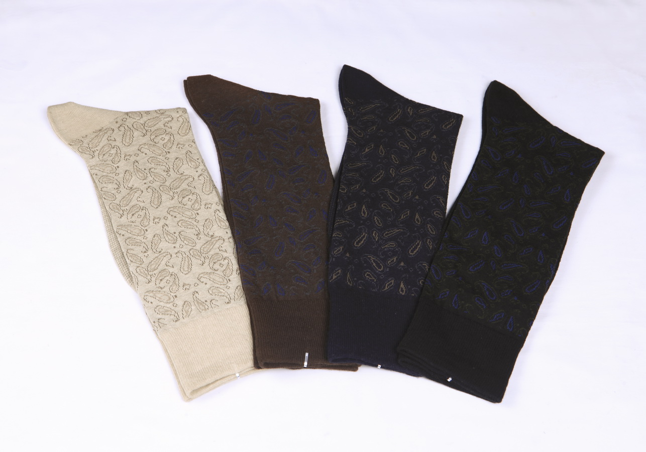 Gentlemen 200N jacquard cotton/nylon crew socks