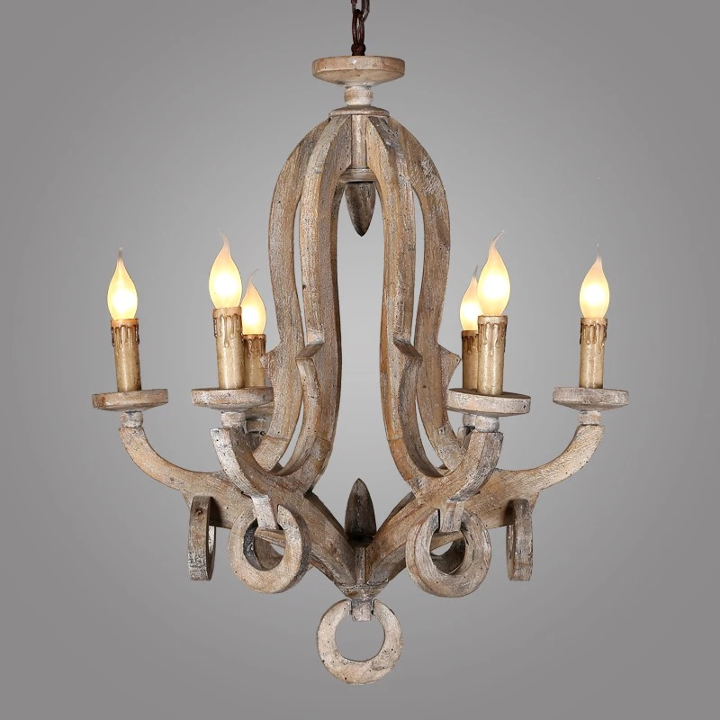 antique lighting wooden candle chandelier/crystal pendant lamp with ul/ce C6009-5L