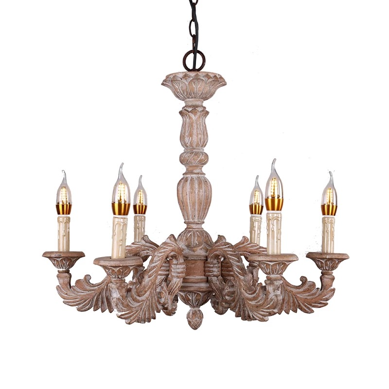 American 6-Light Contemporary Large Hand-Carved Solid Wood Chandelier For Hallways or Restaurant