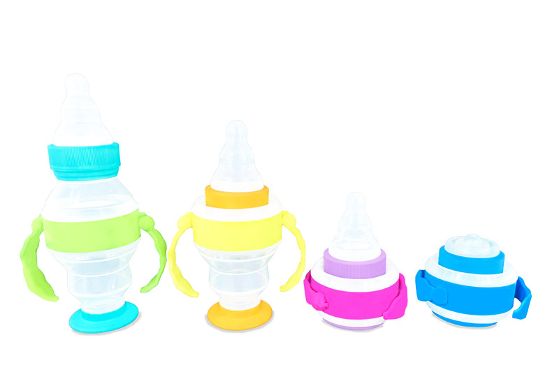 Baby collapsible/foldable plastic silicone feeding milk bottle