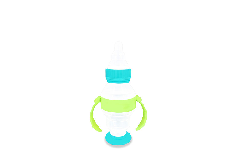 Unique baby collapsible glass silicone feeding bottle