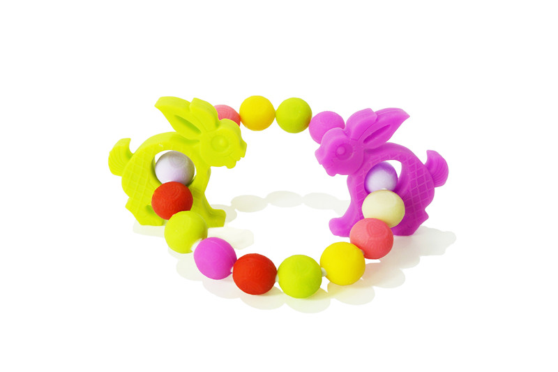 Safe comfortable design colorful baby silicone fancy ring teether