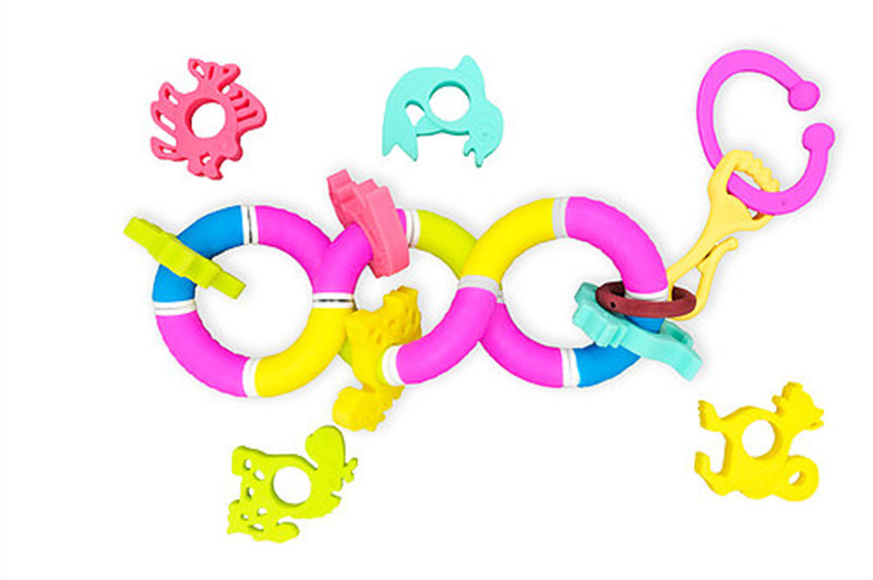 Baby safety silicone shake and twisty rattle teether toy