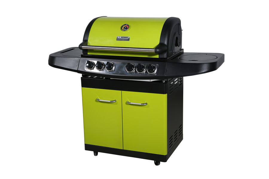 4-Burner freestanding Enamel Color Propane Gas Grill with Side burner and Rear Burner