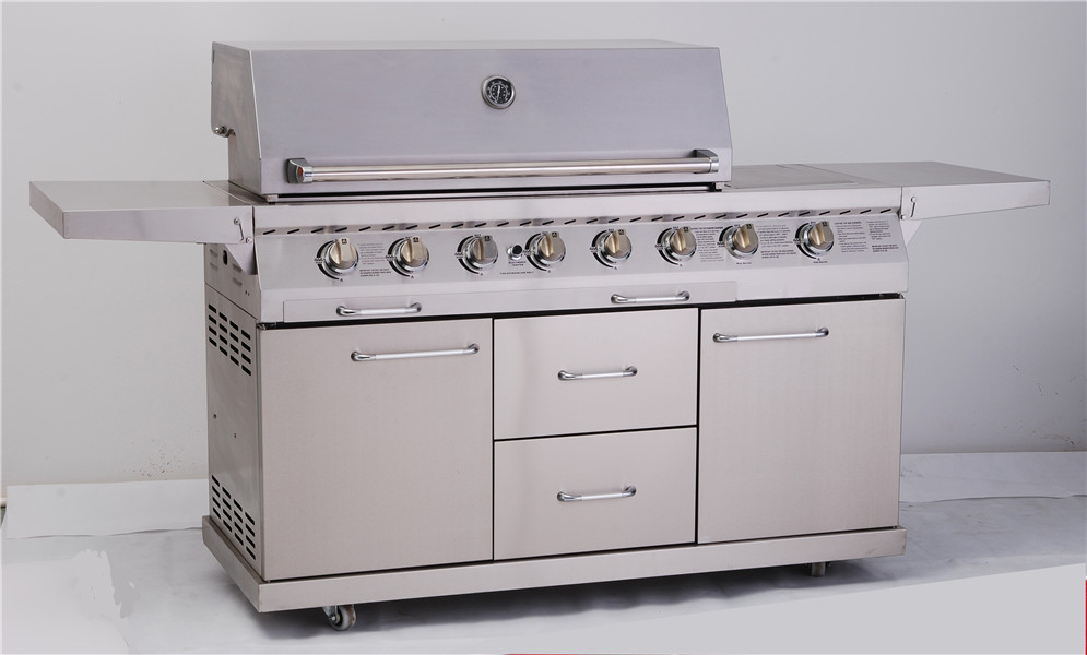 6-Burner Full Stainless Steel outdoor Gas Grill with drawers and doors