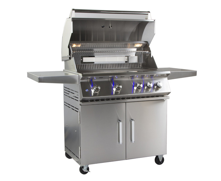 Outdoor 34-Inch 4-Burner Freestanding Propane Gas Grill with Rear Infrared Burner