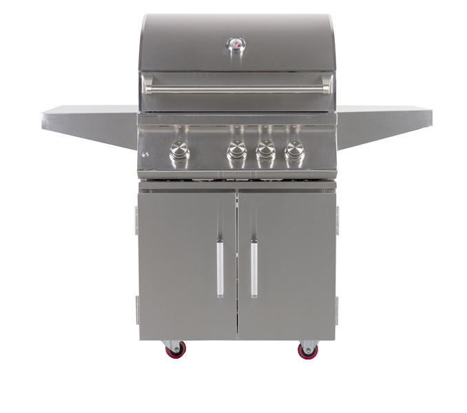Outdoor 28-Inch 3-Burner Freestanding Propane Gas Grill with Rear Infrared Burner