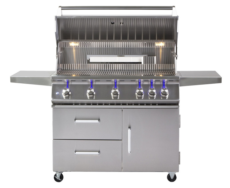 Outdoor 42-Inch 5-Burner Freestanding Propane Gas Grill with Rear Infrared Burner