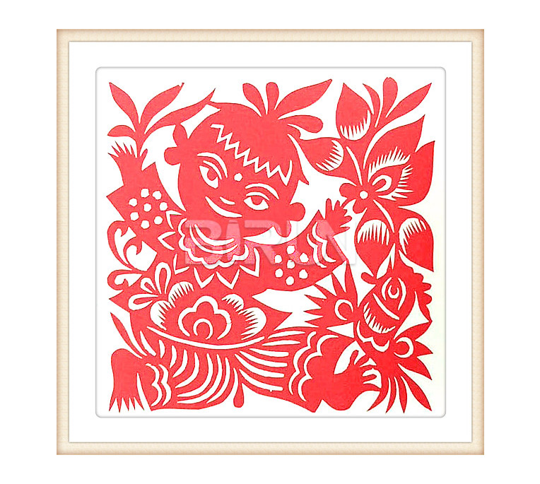 Catch Lotus Children Chinese Paper Cutting