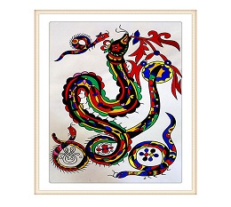 Snake Chinese Gouache Painting