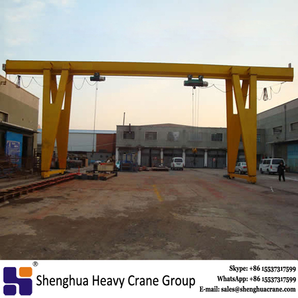 travelling hoist single beam portal crane with MD hoist used in godown or exposed situation