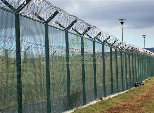 High security fence with razor barbed wire hardware stock