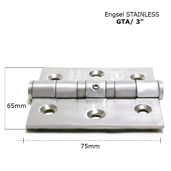 Standard hinge GTA 3 x 2.5 x 2.5mm 2BB SS hinge with holes