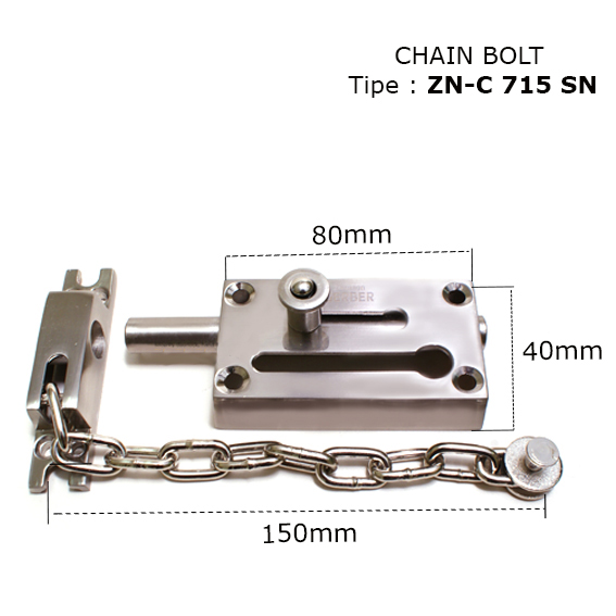 Hot high quality Strong & durable ZN-C 715 SN zinc alloy material chain bolt