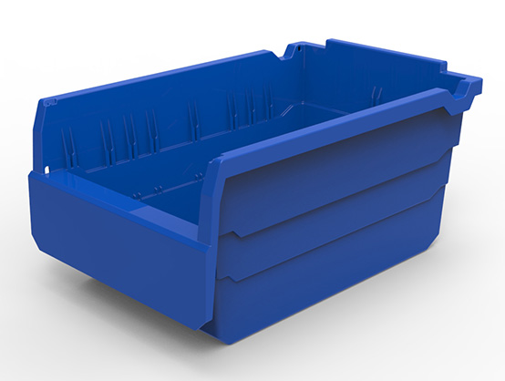 Plastic warehousing storage box with clear divider