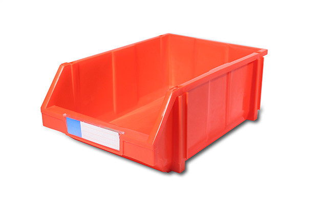 Durable plastic nesting turnover container with attached lid