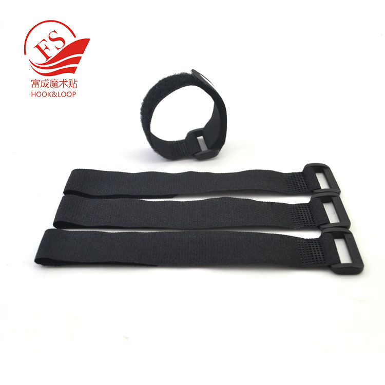 10 Hook and Loop Re-Usable Cable Tie Wraps with Plastic Buckle End for Extra Durability
