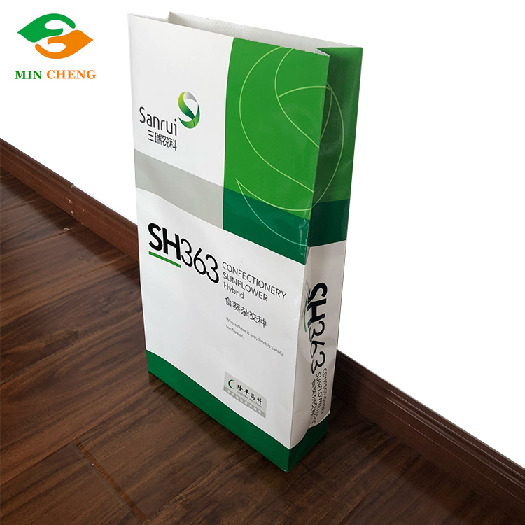 flat bottom laminated paper bag for seeds packaging