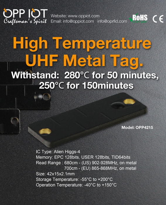 Hi temperature UHF Metal tag