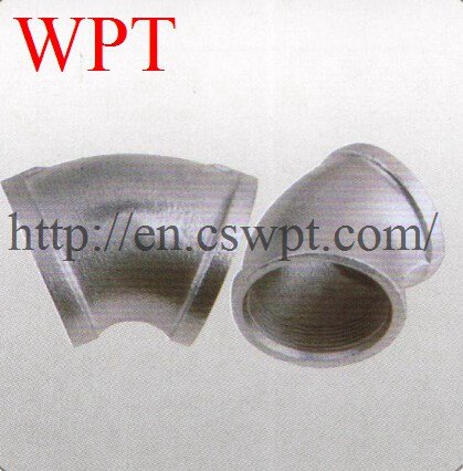 Malleable iron threaded 45 elbow threaded pipe fitting supplier