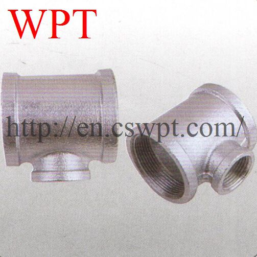 Malleable iron threaded reducing tee 130R for fire fighting