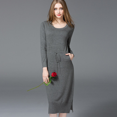 2017 Round Neck Side Slit Ladies Winter Long Sweater Dress