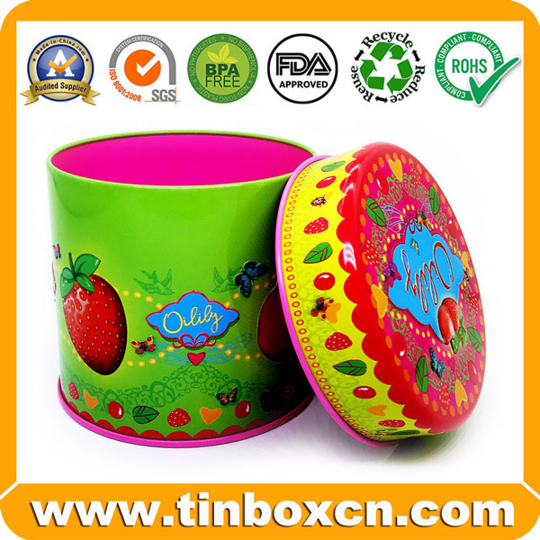 Custom Round Tin Can, Tin Box, Food Tin, Metal Tin Packaging for Candy, Chocolate, Cookie, Biscuit and Snack