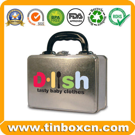 Rectangular Lunch Tin Case with Plastic Handle and Clasp