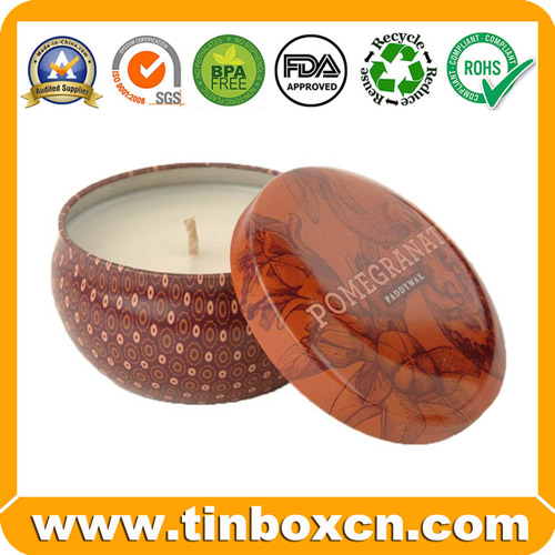 Seamless Round Metal Tin Case Candle Tin Box