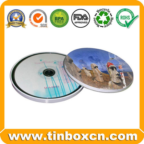 Round CD Tin Box for Metal CD Bag, Tin CD Case