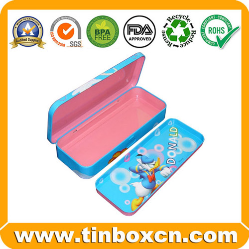 Metal Pencil Box for Children, Pencil Tin Case