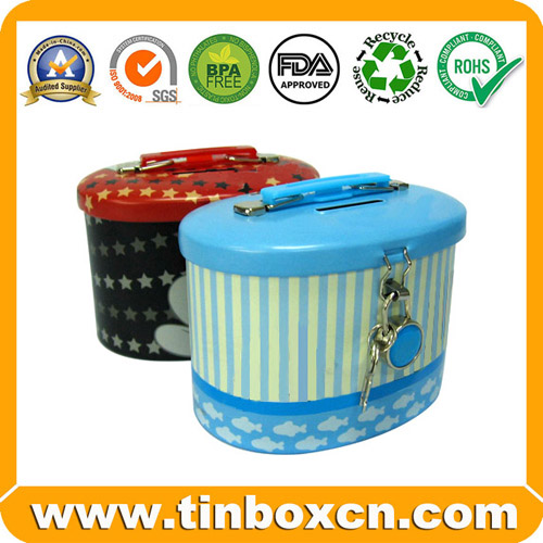 Saving Tin with Lock and Handle, Coin Bank, Metal Money Boxes