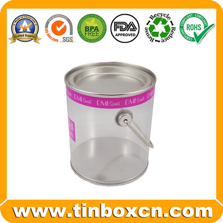 Clear Candy Tin Pails Transparent PVC Chocolate Tin Buckets