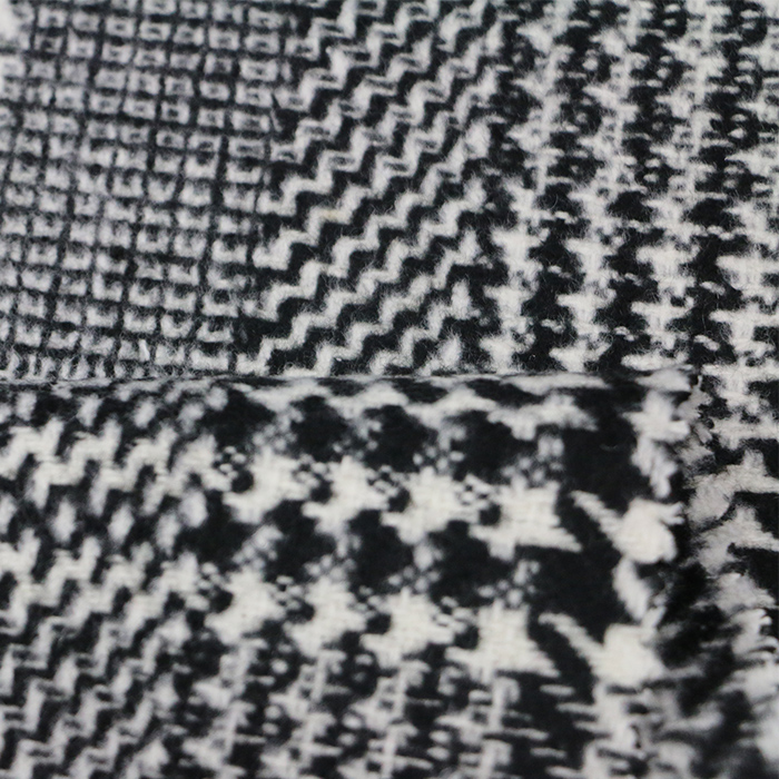 fashion 100%polyester black and white swallow gird woollen woven fabric