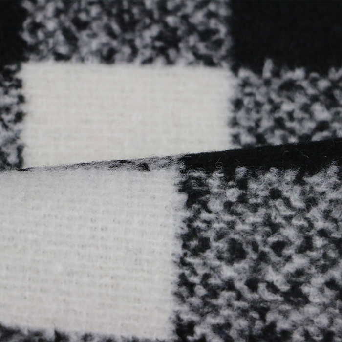 100%polyester black and white and grey gingham woven fabric
