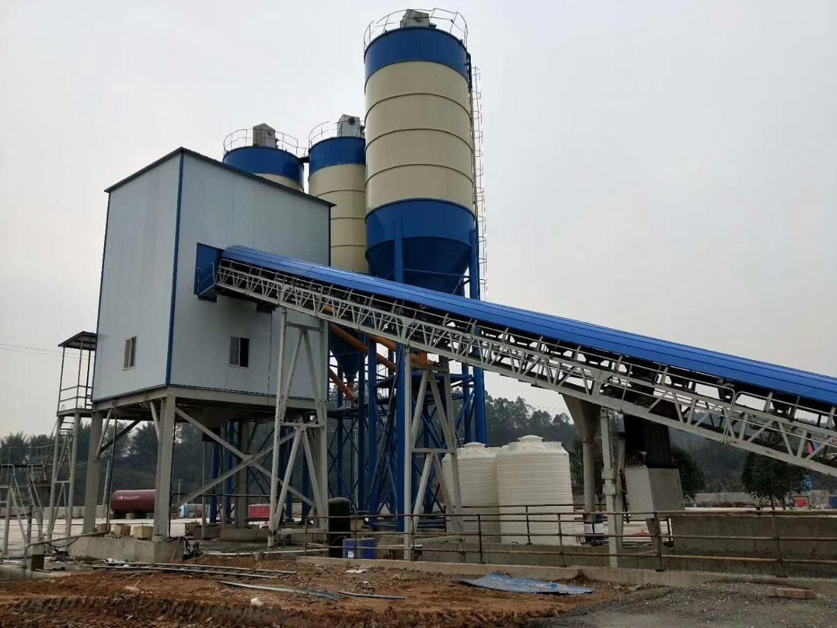 HZS60 1m3 belt conveyor concrete batch plant