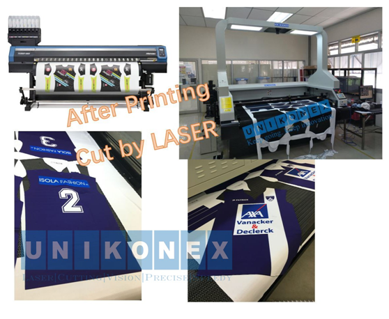 Dye sublimation printed sports jersey laser cutting