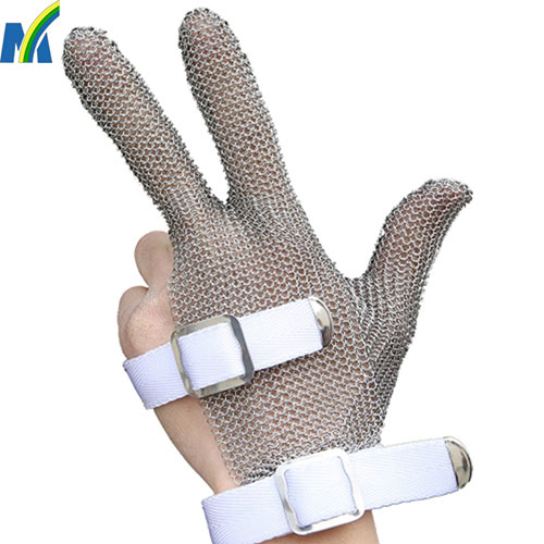 Stainless Steel Garments Cutting Hand Safe Gloves with Three Fingers Targeted Protection
