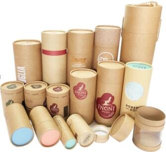 Custom  Recycled Luxury Round Gift Kraft Paper Box Packaging Tube with custom printed
