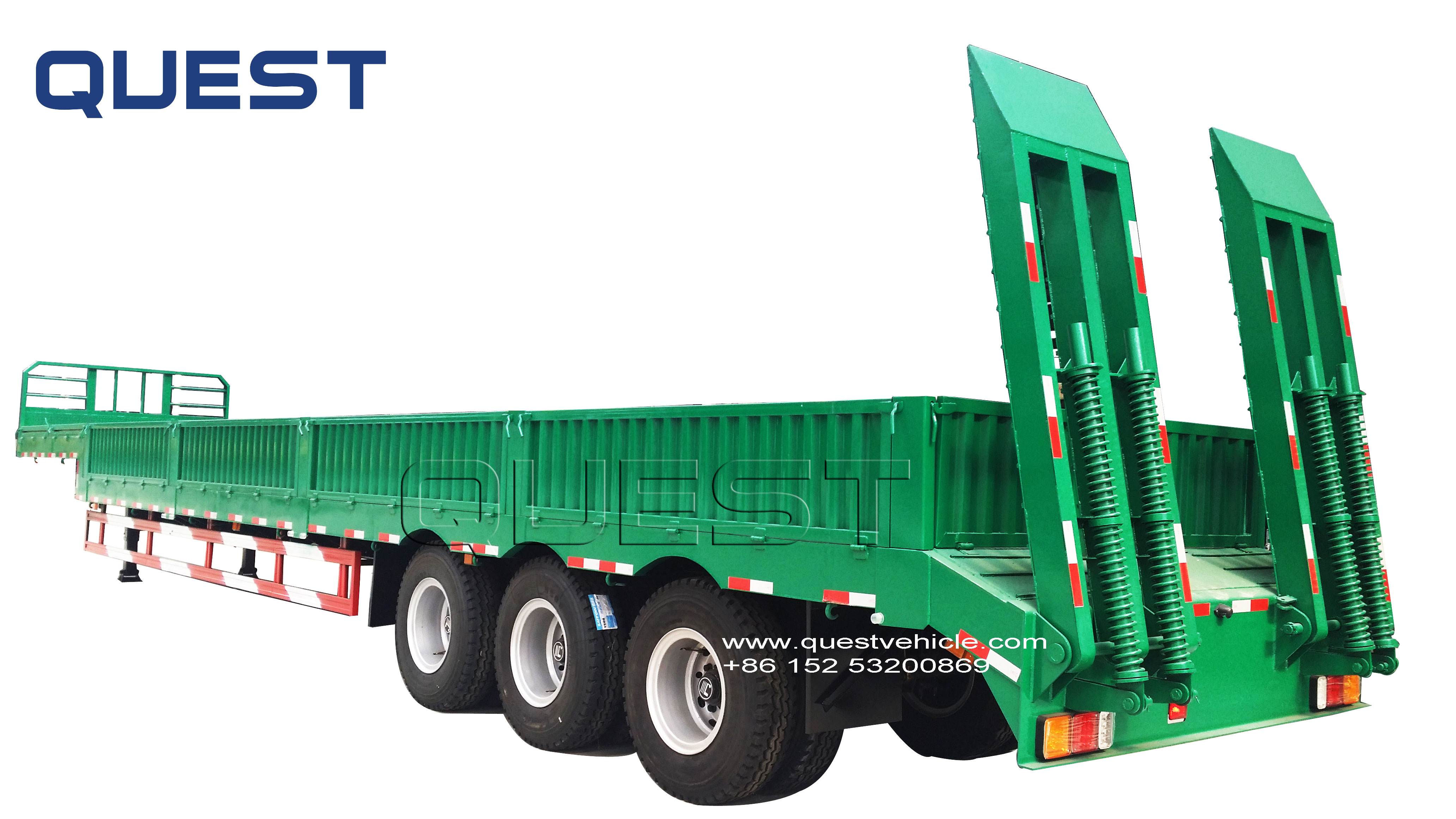 60Tons Multi function 3 axles Low bed semi trailer