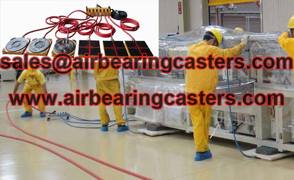 Air casters moving machines steadily