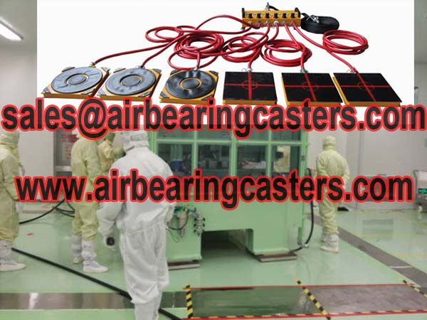 Air bearing movers moving heavy loads easily
