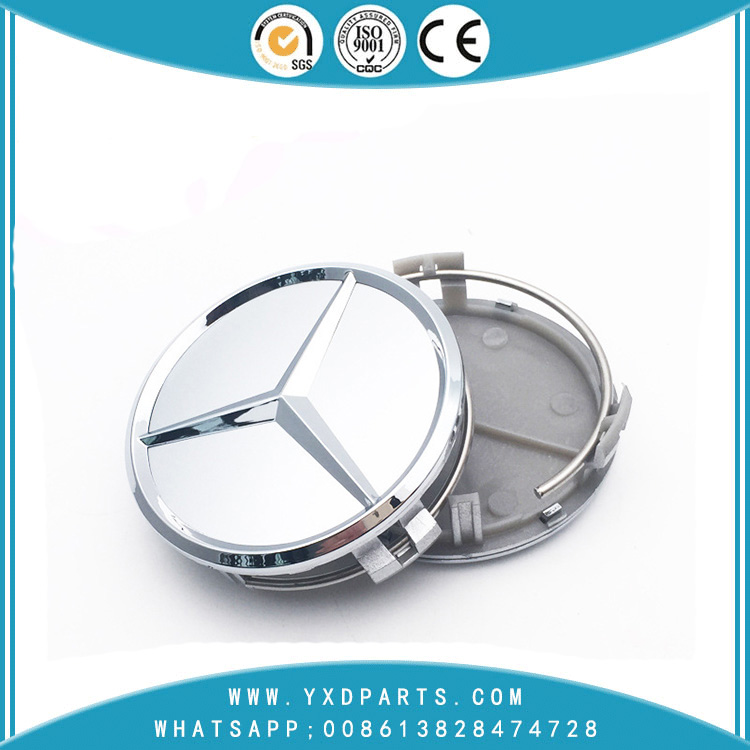 Mercedes-Benz Hubcap Mercedes-Benz Silver Hubcap Logo 75mm ABS Plastic Cover Mercedes-Benz Logo Labeling