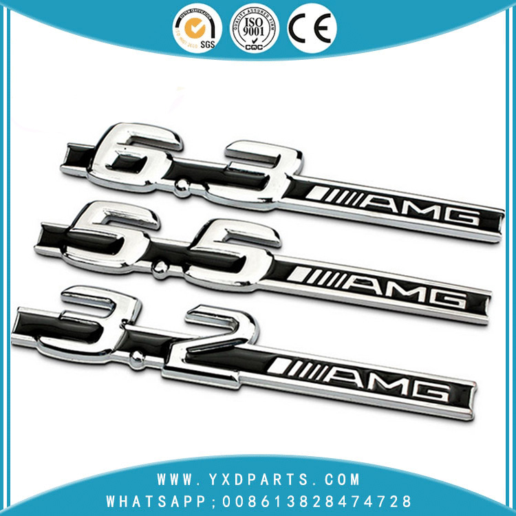 Car stickers Mercedes-Benz C63 C200 modified AMG 5.5 6.3 3.2 Displacement standard metal rear stickers 17.2mm