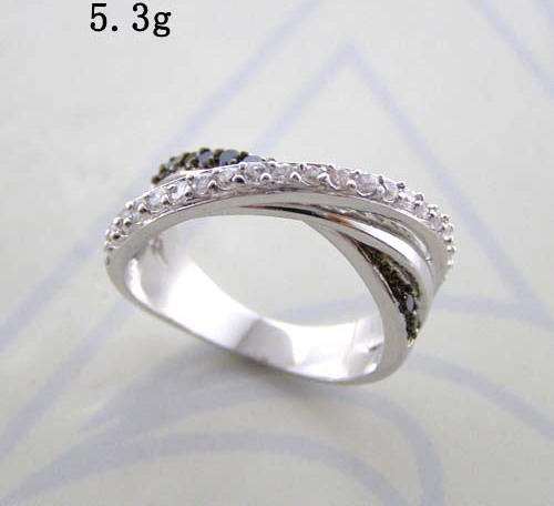 Black rhodium and rhodium two tone plated classic crossed fashion ring