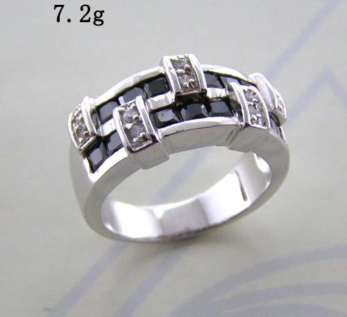 Fashion two rows little square stones ring